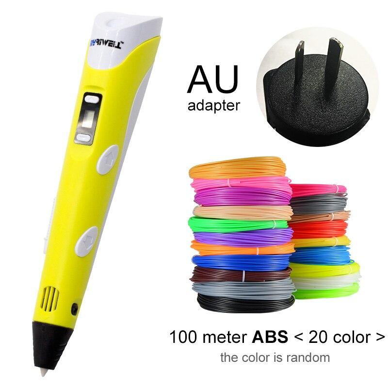 Myriwell, 3D ручка, светодиодный экран, сделай сам, 3D Ручка для печати, 100 м, ABS нити, креативная игрушка, подарок для детей, дизайнерский рисунок - Цвет: Yellow AU-100m ABS