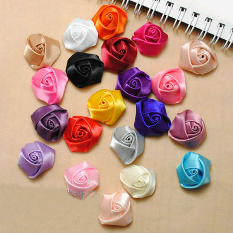 A Bag 100Pcs/Lot Handmade Size 2.5Cm Satin Fabric Rose Artificial ...