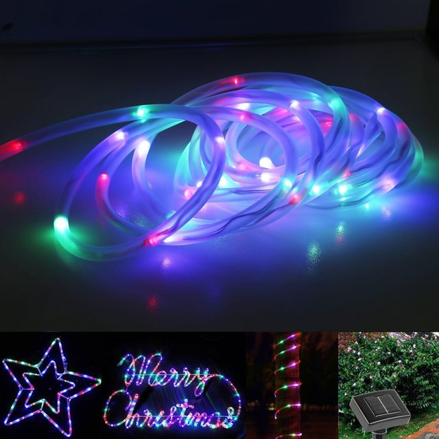 Led Solar Rope Lights Waterproof 7m 50 Leds Portable With Light Sensor Outdoor