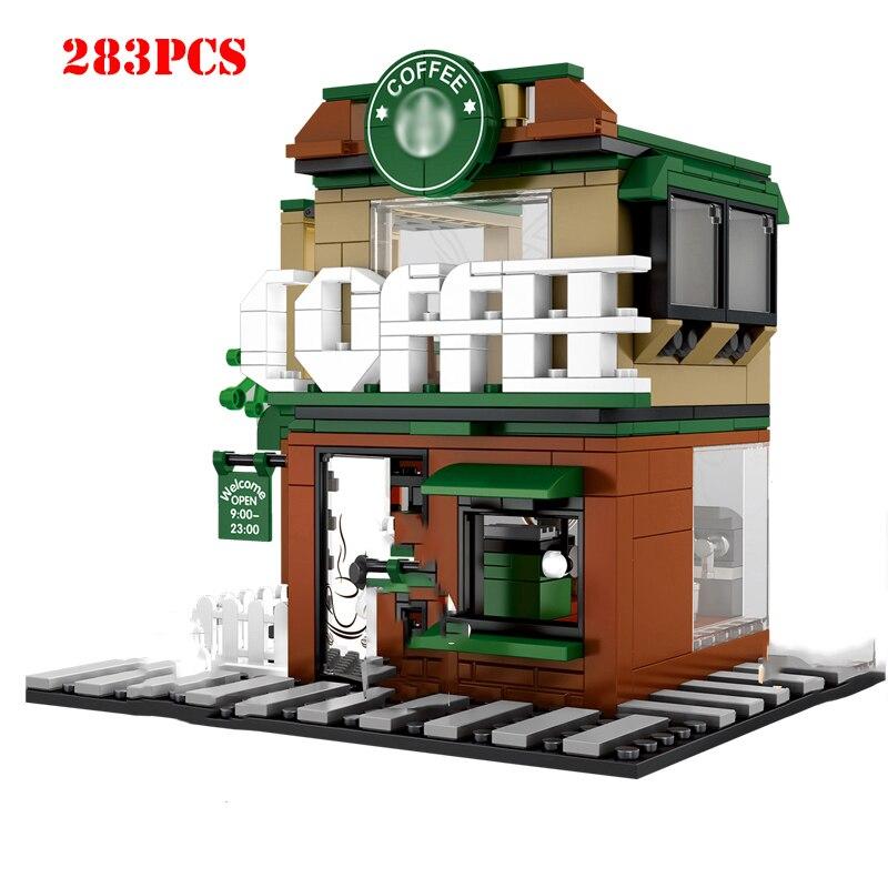 Street Hamburger Cafe Retail Convenience Store Architecture Building Blocks Compatible Legoed Technic City Street View Brick Toy 2
