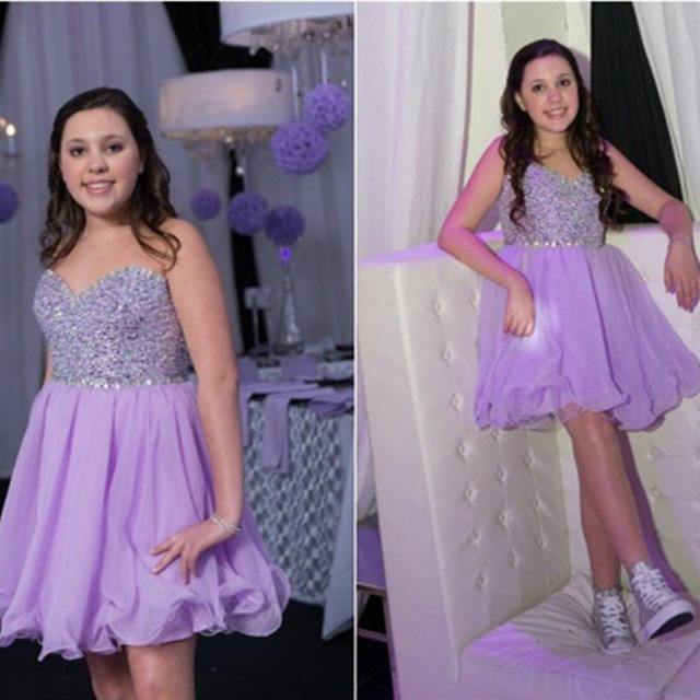 Light Purple Prom Dresses Short Puffy A Line Sweetheart Beaded
