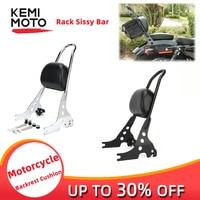 Rack Sissy Bar Rear Passenger Backrest Cushion Pad Motorcycle Luggage Black & Chrome For Sportster XL883 XL1200 1996 2019