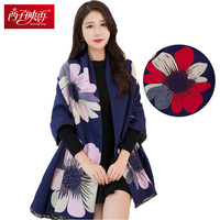 Luxury Brand Women Winter Scarves Flower Printed Cotton Warm Scarves 190 60cm Lager Size Wraps Pashmina