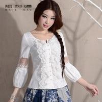 LYNETTE S CHINOISERIE Spring Original Design Women Plus Size Vintage Royal Wind White Lace Linen Blouse