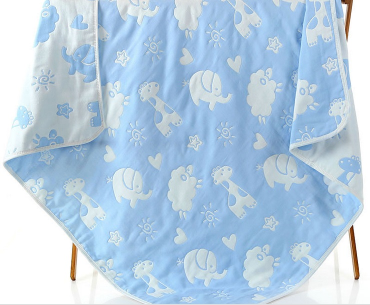 Купить с кэшбэком Muslin Baby Blankets Children 6 layers Gauze Cotton Soft Anti Kick Quilt Newborn Infant Swaddle Towel Kids Bath Towel 110*110cm