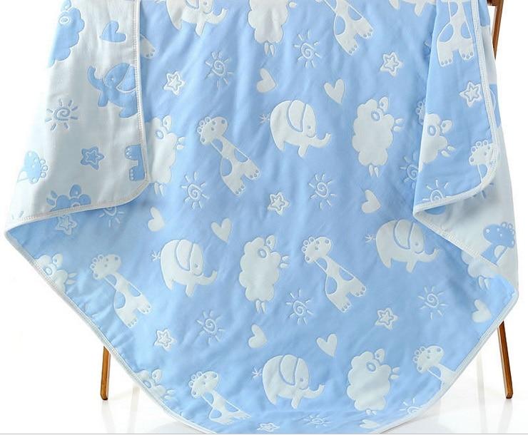 Image 5 - モスリンベビー毛布子供 6 層ガーゼ綿ソフト抗キックキルト新生児おくるみタオル子供バスタオル 110*110 センチメートルmuslin baby blanketbaby blanketinfant swaddle -