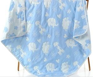 Image 5 - Mantas de muselina para bebé, 6 capas de gasa de algodón suave antikick edredón para recién nacido, toalla infantil de envolver, Toalla de baño para niños 110*110cm