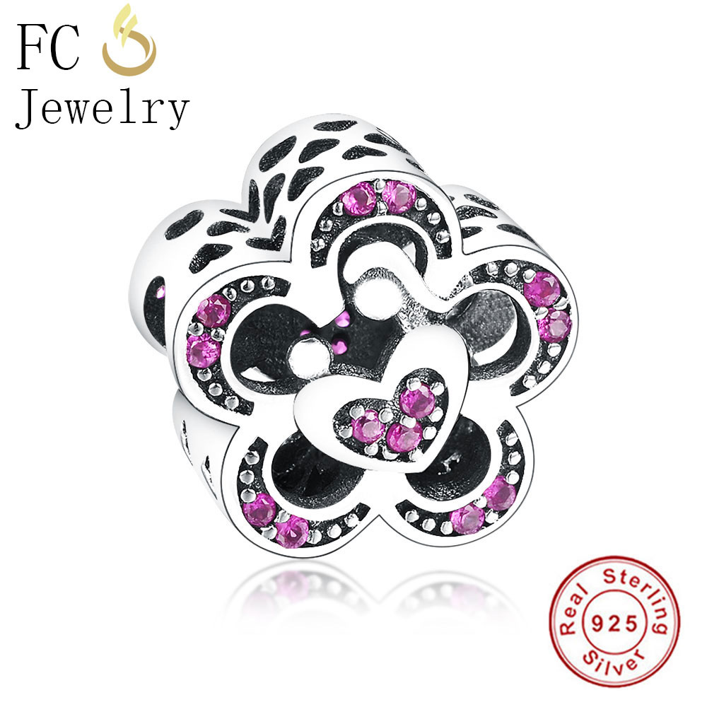 FC Jewelry Fit Original Pandora Charm Bracelet Authentic 925 Silver Love Flower Mix Purple CZ Stone Bead for DIY Making Berloque