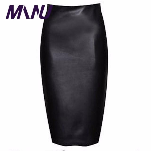 Señoras de Cuero de LA PU Lápiz Midi Faldas Nueva Moda Verano Otoño 7XL Completo Más El Tamaño de Las Mujeres de Cintura Alta Saia Faldas Largas