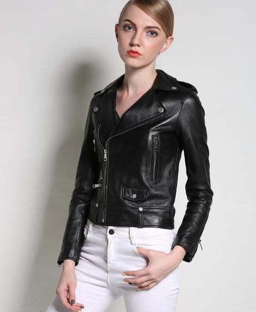 Negro solapa de la moda calle delgado motocicleta chaqueta de cuero Genuino de las mujeres de piel de oveja de cuero abrigos mujer estilo británico 3XL