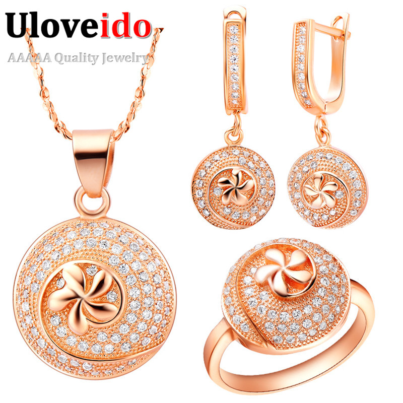 Uloveido Rose Gold Color Bridal Jewelry Sets Flower Jewelry Set Girl