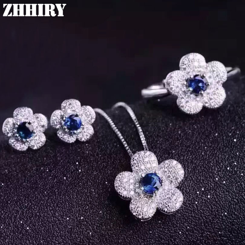 Women Natural Sapphire Gem Stone Jewelry Set Genuine 925 Sterling Silver Necklace Pendant Earrings Ring Flowers teardrop faux gem rhinestone pendant necklace set