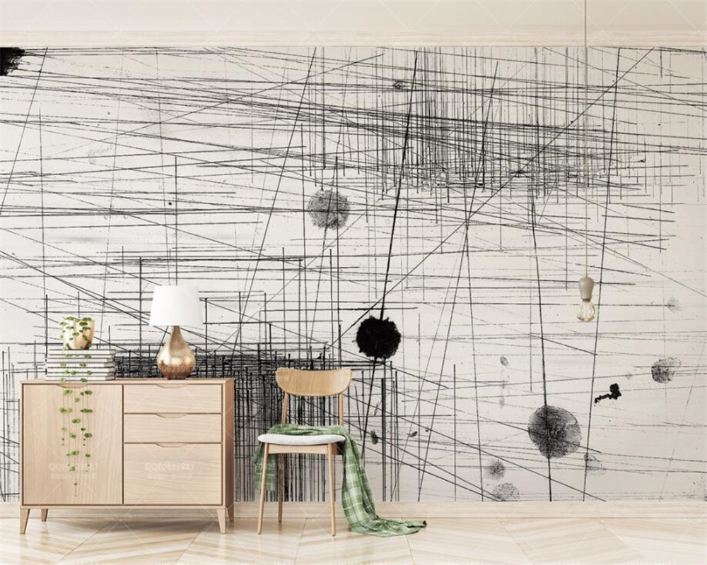 beibehang Custom wallpaper mural Abstract black and white lines dots modern 3d living room tv background wall 3d wallpaper 3d abstract art backdrop modern black and white mural new large mural 3d wallpaper bedroom living room tv backdrop painting