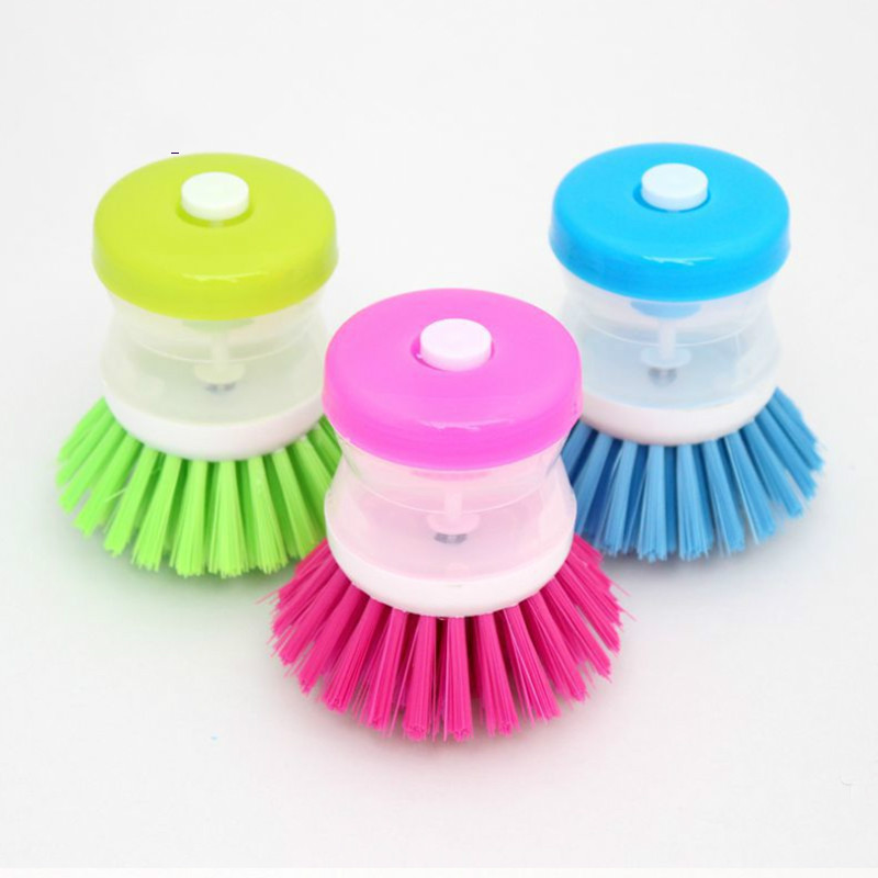 New Arrival Kitchen DishWashing Brush Utensils Pot Dish Brush With Washing Up Liquid Soap Dispenser Plastic