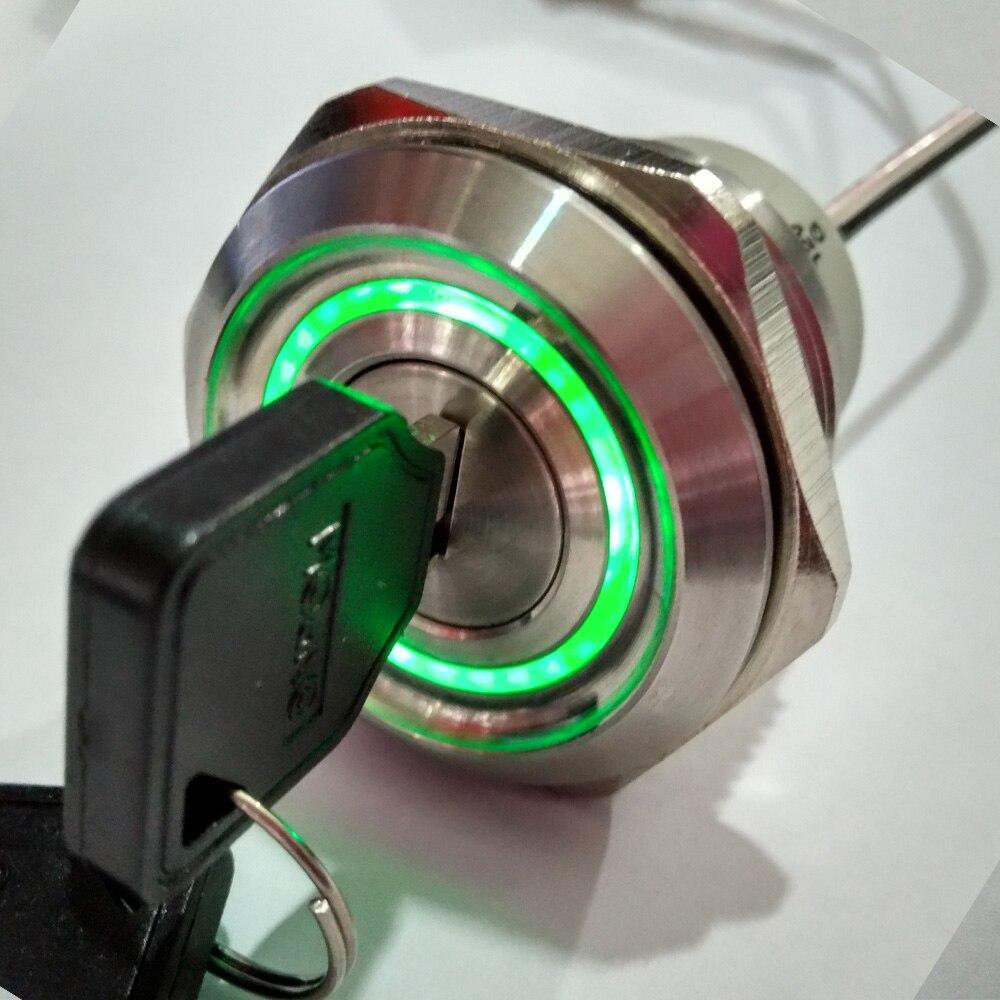 30mm 2 Position Remain Metal 6V 12V  24V 110V 220V Green illumination key lock switch + free shipping odm 9 40mm mercury switch position sensor 220v 2a