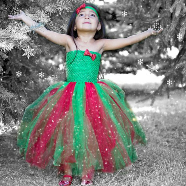 posh dream christmas party children girls tutu dresses red and green christmas glitter tulle kids girls