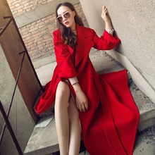 woolen coat women 2019 long section wild overcoat female spring autumn winter slim blend outerwear