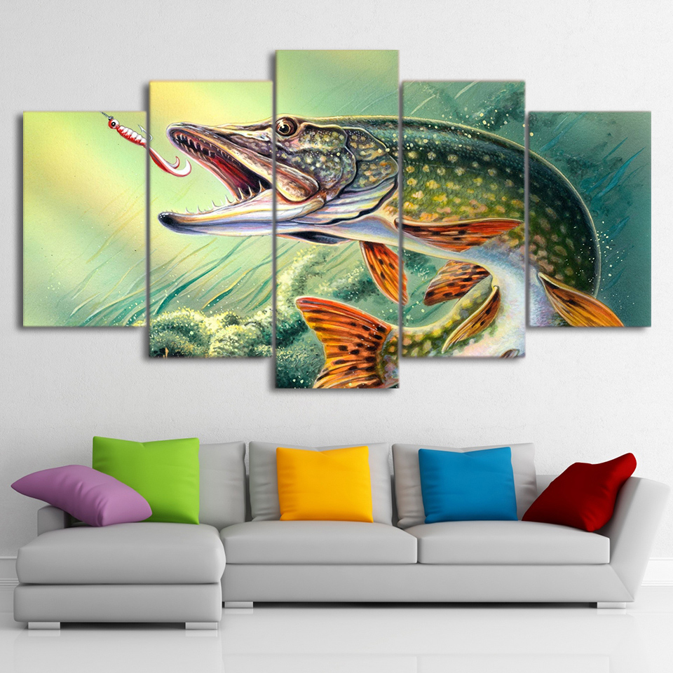 5 piece canvas art fishing hooked pike fish canvas for Fisherman home decor