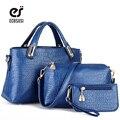 ECOSUSI New Pu Couro Mulheres Composite Bag Mulheres Crocodile Mulheres Messenger Bags Lady Bolsas Tote 3 Pçs/set das Mulheres carteira