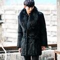 CR087 genuinos de los hombres abrigos de piel de conejo real de piel chaquetas abrigos negro color con gran mapache cuello de piel