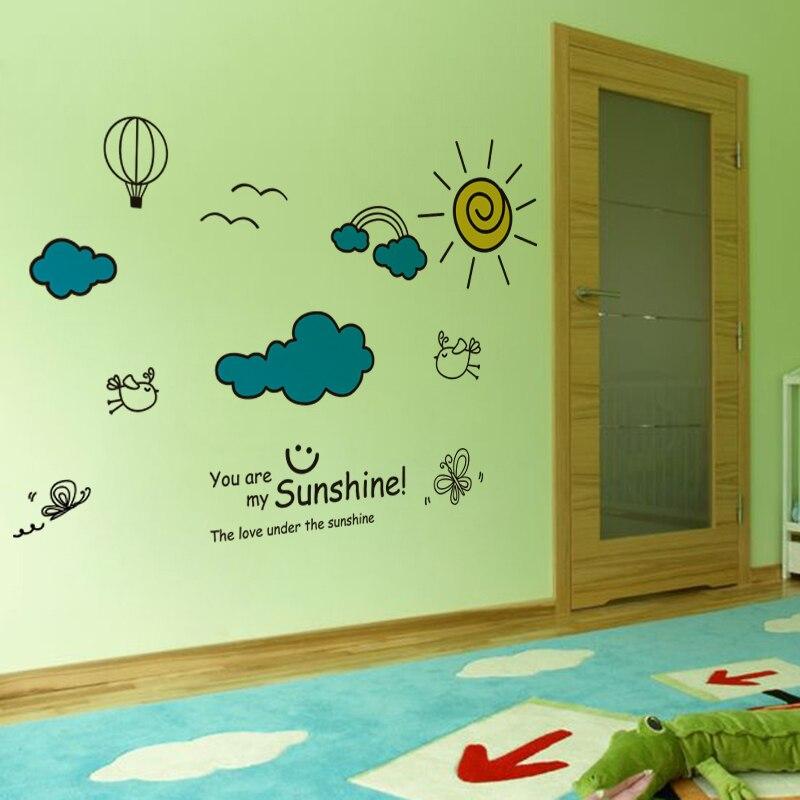 [shijuekongjian] Sunshine Clouds Wall Stickers Interior Design DIY Cartoon Wall Decals for Kids Rooms Baby Bedroom Decoration
