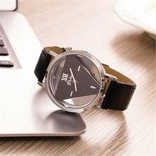 Melhor venda de moda oco de aço invertida triângulo inoxidável polarizada ajustável ajustável relógio fivela de couro de quartzo