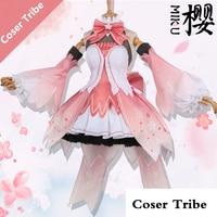 [Nov. STOCK] 2018 Anime Vocaloid MIKU Sakura Pink Lolita Dress Cosplay Costume Full Set For Women Halloween Free Shipping New.