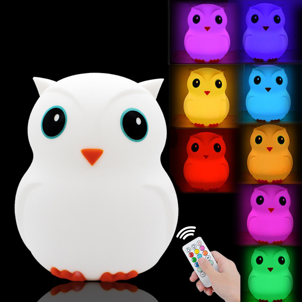 Bird Penguin Owl LED Night Light Remote Control Timer Touch Sensor 9 Colors USB Rechargeable Silicone Baby Children Bedside Lamp
