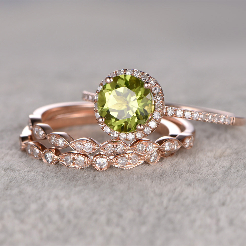 peridot heart ring 1 10 ct tw diamonds 10k yellow gold peridot wedding rings Hover to zoom