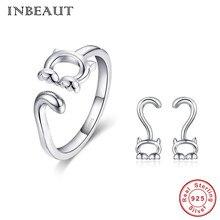 купить INBEAUT 100% Real 925 Sterling Silver Naughty Curled Tail Cat Open Ring for Women Lovely Kitten Shaped Stud Earrings Jewelry Set по цене 788.65 рублей
