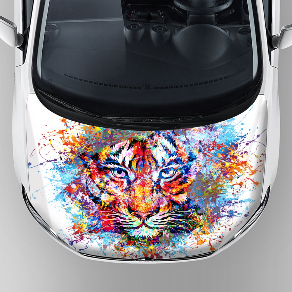 Hot sale car modification sticker custom tiger head graphics vinyl car hood bonnet decal sticker wrap with reusable adhesive in car stickers from
