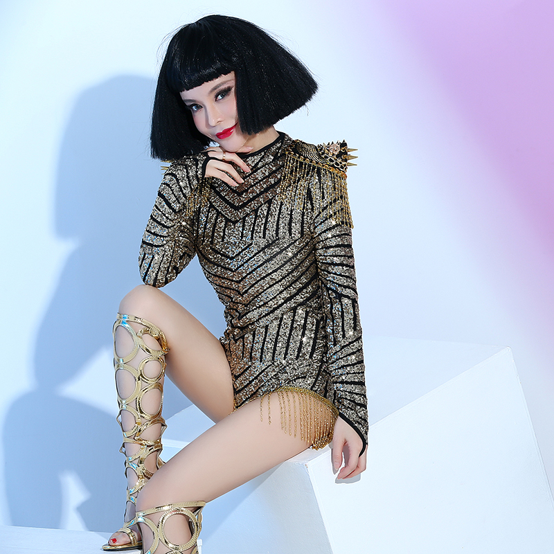 Female Singer DS Gold Paillette Long-sleeve Bodysuit Costume Tassel   Dance Costumes   Concert Dress   Bars Nightclubs Clothing