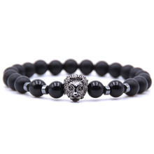 KANGKANG 2018 hot Selling 18 styles Natural stone Lion head bracelets Volcanic bracelet Men&Womens charm Jewelry