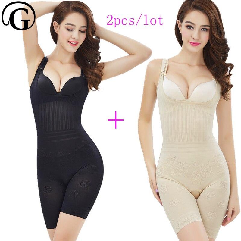 PRAYGER 2pcs lot Women Body Shaper Bodysuit Mesh font b Slimming b font tight Underwear Full