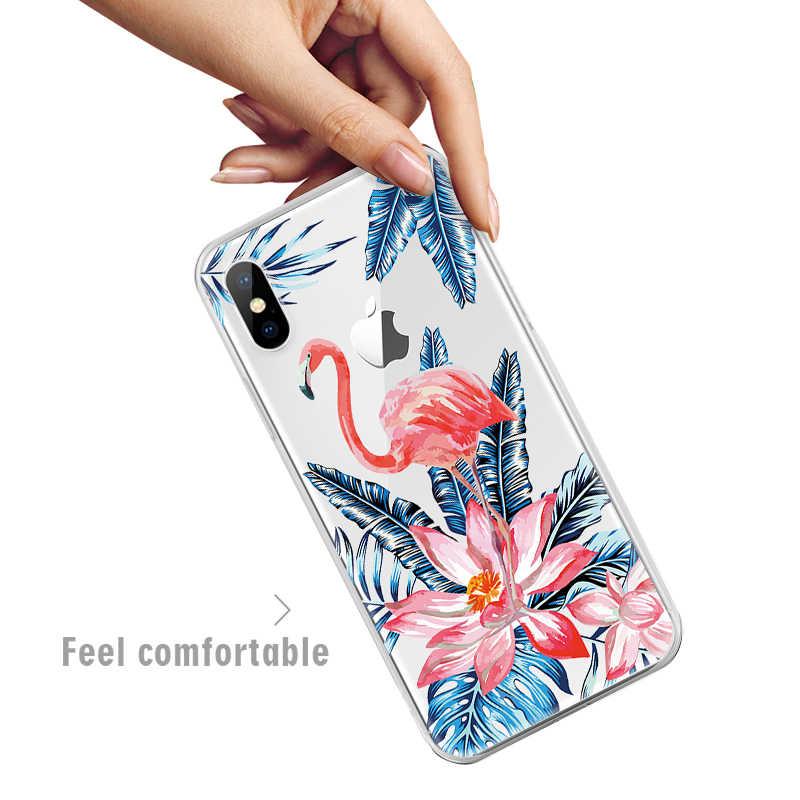 Vevice Indah Bening TPU Case untuk iPhone XR X Max X 8 7 6 6S PLUS 5 5S se Soft Cover Bunga Hewan Pola Hati Coque Fundas