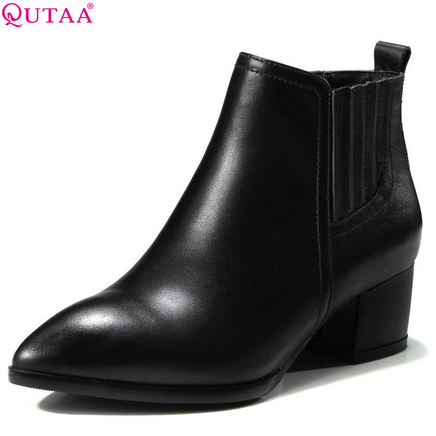 QUTAA 2019 Cow Leather +pu Fashion Women Ankle Boots Square High Heel Pointed Toe Platform Women Motorcycle Boots Big Size 34-39 qutaa 2018 women ankle boots fashion zipper square high heel pointed toe pu leather spring and autumn women boots size 34 43