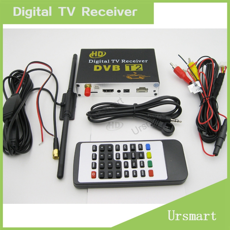 Car Digital TV Tuner HD DVB T2 Receiver Box MPEG4 / MPEG2 digital car tv tuner Double Antenna AE0051 - Ursmart,.LTD store