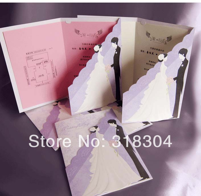 Korean romantic couple wedding invitations 2014 purple wedding cards korean romantic couple wedding invitations 2014 purple wedding cards with personalized printing 14030801 in party favors from home garden on stopboris Images