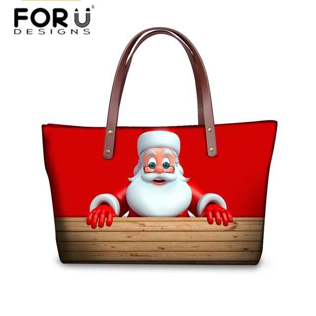 Online Shop FORUDESIGNS Santa Claus Printing Handbags for Women ...