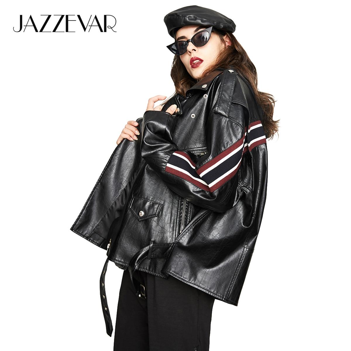 JAZZEVAR 2019 New Autumn High Fashion Street Women's Washed PU   Leather   Jacket Motorcycle oversized Jackets Good Quality YA7018