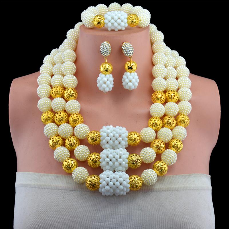 Fashion 2017 Women Necklaces Yellow African Beads Jewelry Sets Nigerian Wedding Bridal Indian Beads Jewelry Sets Crystal Beads
