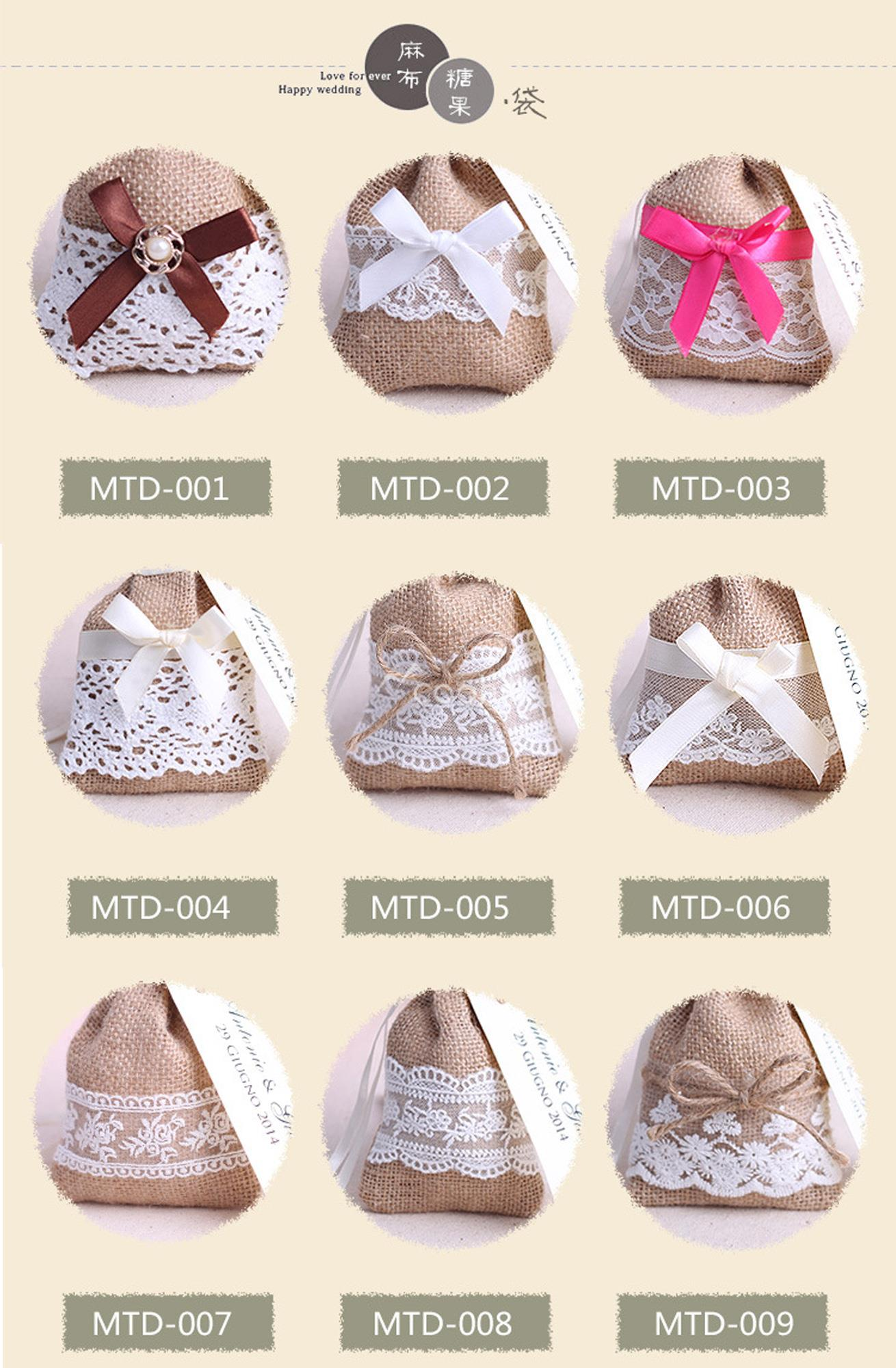 100pcs mixed style Jute hessian candy bags burlap gifts bags lace ...