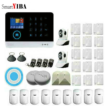 SmartYIBA Security Wireless Home GSM Alarm Sets WIFI APP Control IP Camera Wireless Siren Gas Smoke Detector For Office Home цены онлайн