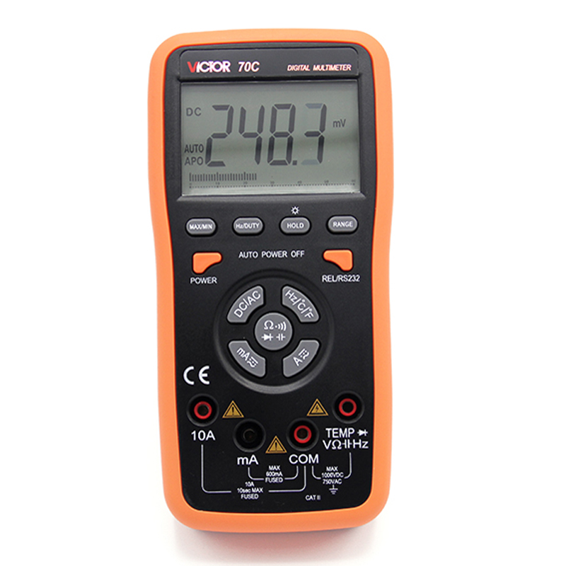 True RMS Ammeter Multitester VICTOR 70C 3 5/6Key Touch Digital Multimeter Resistance Capacitance Victor Multimeter ammeter multitester 2000 counts resistance capacitance inductance temperature victor digital multimeter vc9805a