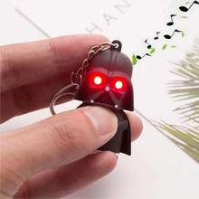 KISSWIFE Free Shipping 2016 Star Wars Keyring Light Black Darth Vader Pendant LED KeyChain For Man Gift(China)