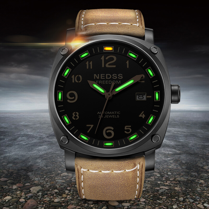 2018 High quality luxury watch men automatic watch italy leather strap tritium watches sapphire crystal self-luminous green T25 yelang v1015 upgrade version khaki number tritium gas green luminous men automatic mechanical business watch leather watchband