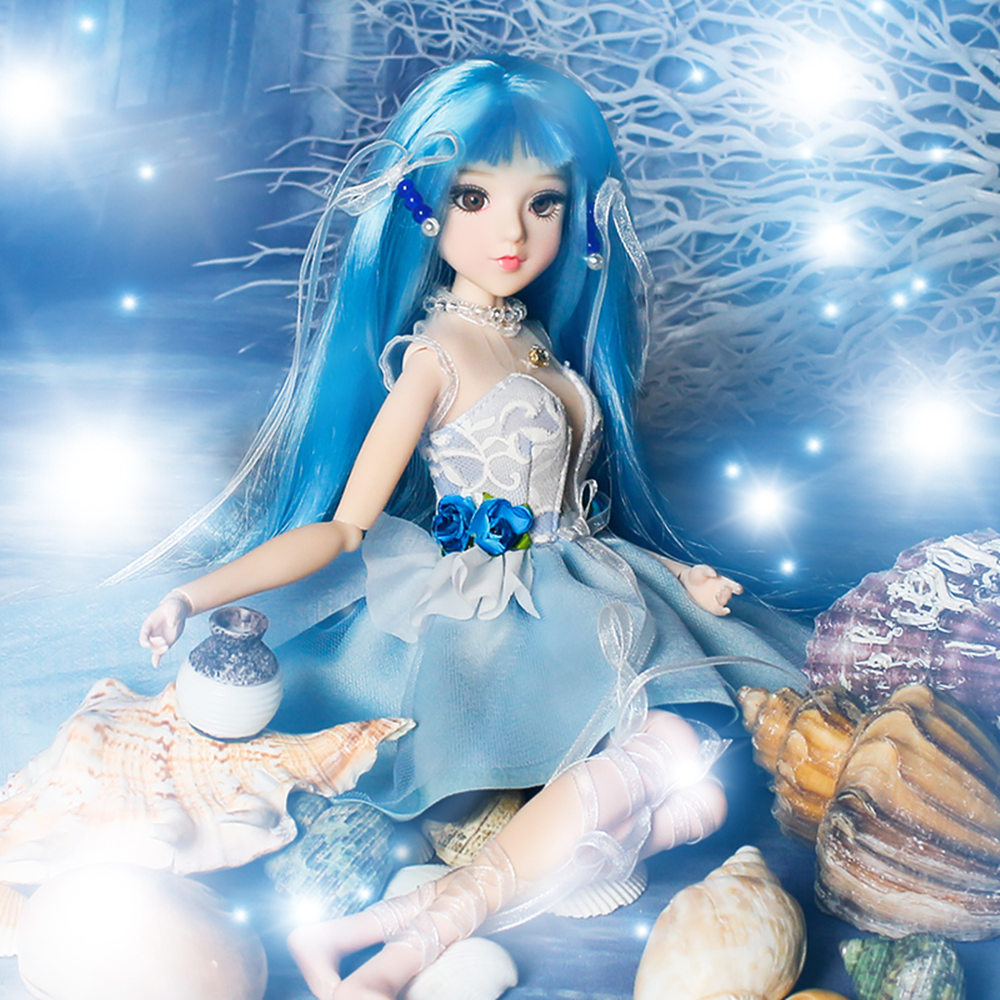 Fortune Days MMGirl 12 constellation Aquarius like BJD Blyth doll 1/6 30cm 14 joint body blue dress fantasy toy gift