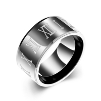 Jenia Wide Black Men Ring Roman Numerals Black Ring 316L Stainless Steel Cool Men Ring Cocktail