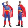 Adult Men Superman Halloween Jumpsuit+Cloak+Belt Costumes Halloween party Hero performance clothes adult man tights