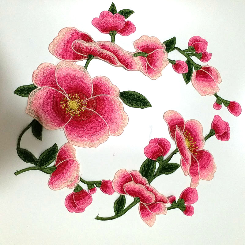 2pcs set Large applique flowers embroidery patches Sew on embroidered parches appliques for clothing parches para la ropa in Patches from Home Garden